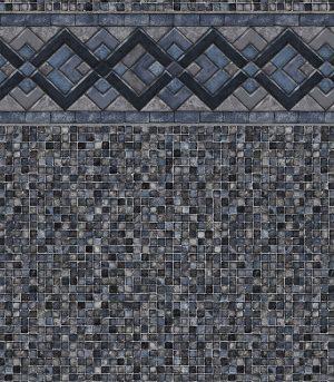 "Cobalt Lake / Grey Mosaic<br>27 mil <br>tile height 9"""