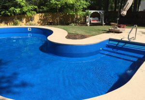 Swimming Pool with a new liner as water fills it