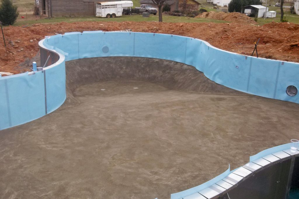 Newly installed pool wall foam during installation