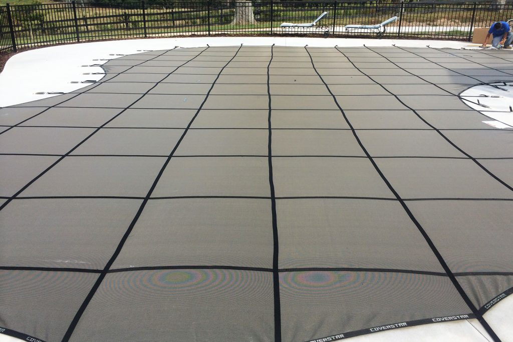 Newly installed safety pool cover